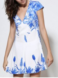 Fashionable Plunging Neck Blue Floral Print Short Sleeve Dress For Women - WHITE M