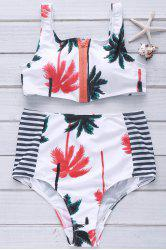 Palm Print High Waisted Bikini with Crop Top