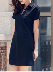 Lace-Up Short Sleeve Polo T-shirt Casual Dress -