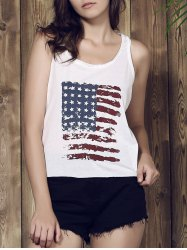 Casual Scoop Neck Sleeveless American Flag Print Women's Tank Top - WHITE