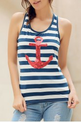 Sequins Anchor Striped Tank Top