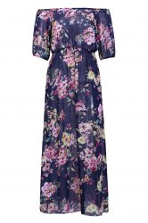Sexy Slash Collar 3/4 Sleeve Floral Print See-Through Women's Dress