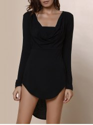 Fashionable Cowl Neck Solid Color High-Low Hem Long Sleeve Dress For Women - BLACK
