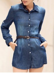 Stylish Shirt Collar Long Sleeve Single-Breasted Denim Women's Dress - BLUE