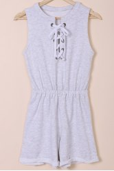 Casual Round Neck Sleeveless Solid Color Lace-Up Romper For Women
