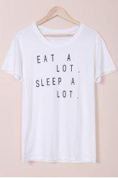 Stylish Jewel Neck Short Sleeve Letter Pattern T-Shirt For Women -