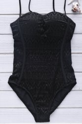 Women's Sexy Spaghetti Strap Geometrical One Piece Black Swimwear