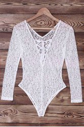 Sexy Long Sleeve Lace-Up Hollow Out Lace Swimwear For Women