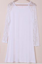 Plus Size Long Sleeve Shift Dress with Lace - WHITE 3XL
