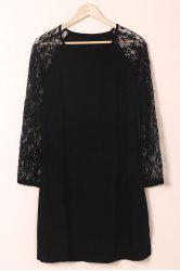 Stylish Jewel Neck Long Sleeve Lace Splicing Plus Size Dress For Women