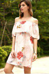 Off The Shoulder Floral Ruffled Dress