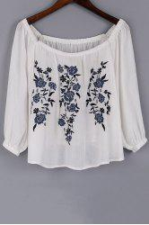 Fashion Scoop Neck 3/4 Sleeve Floral Embroidery Blouse For Women