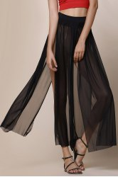 Stylish Low-Waisted Solid Color High Slit Skirt for Women - BLACK