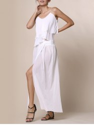 Stylish Low-Waisted Solid Color High Slit Skirt for Women