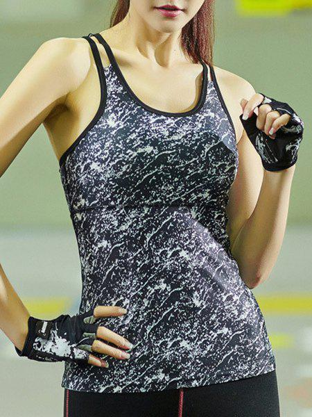 Online Dual Strap Quick-Drying Printed Running Gym Vest
