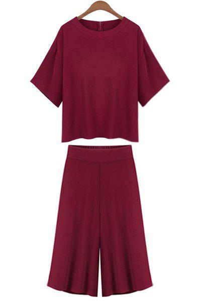 Online Casual Jewel Neck Short Sleeve T-Shirt and Wide Leg Pants Suit For Women