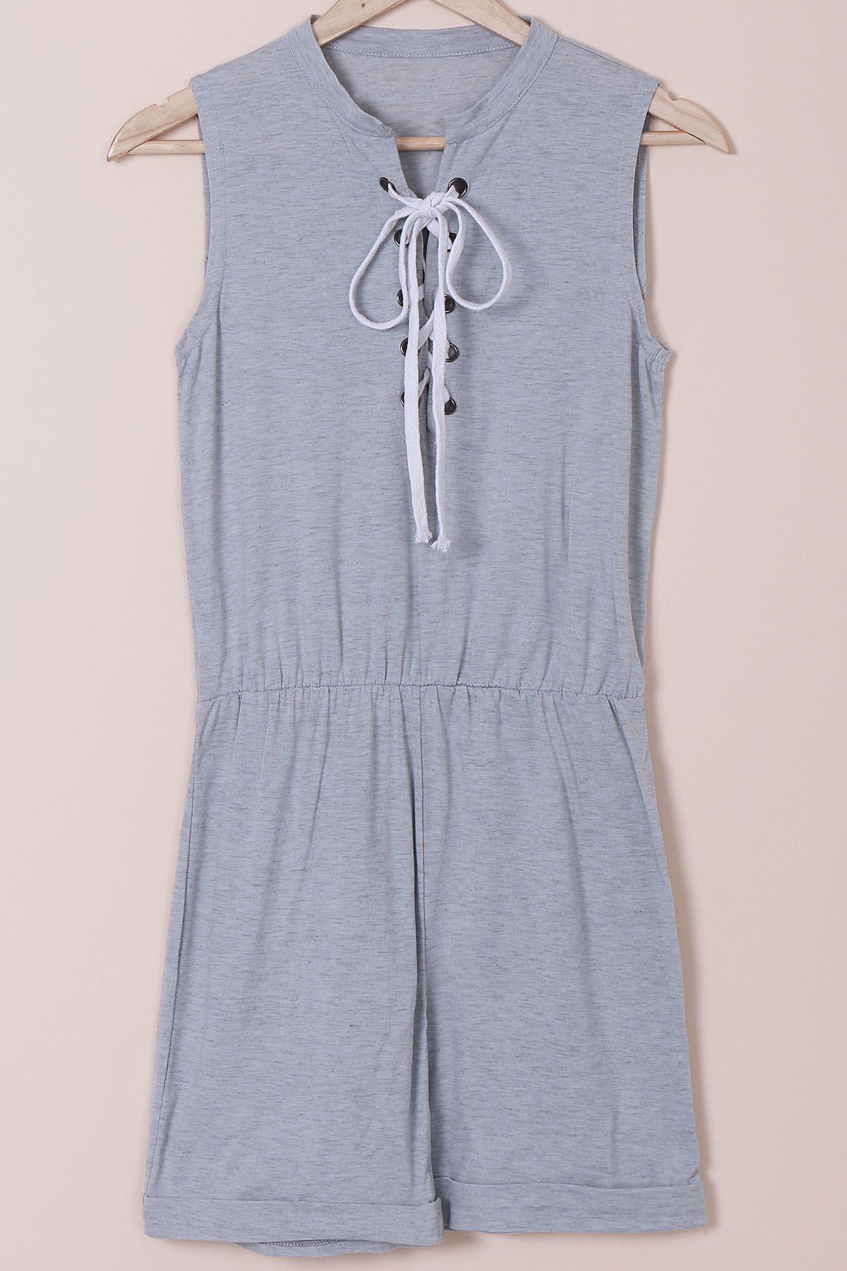 Store Casual Style Jewel Neck Sleeveless Gray Lace-Up Women's Romper