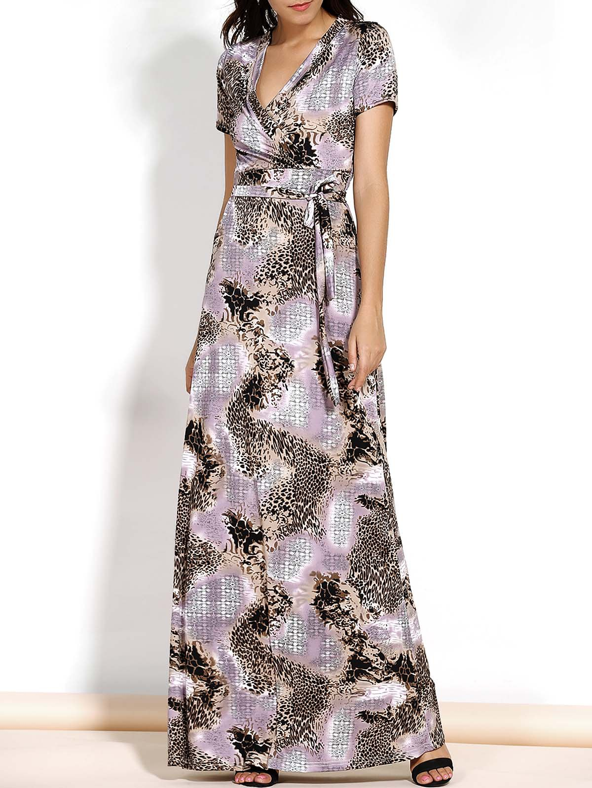 Chic V-Neck Short Sleeve Leopard Print Spliced Belted Maxi Dress Women XL