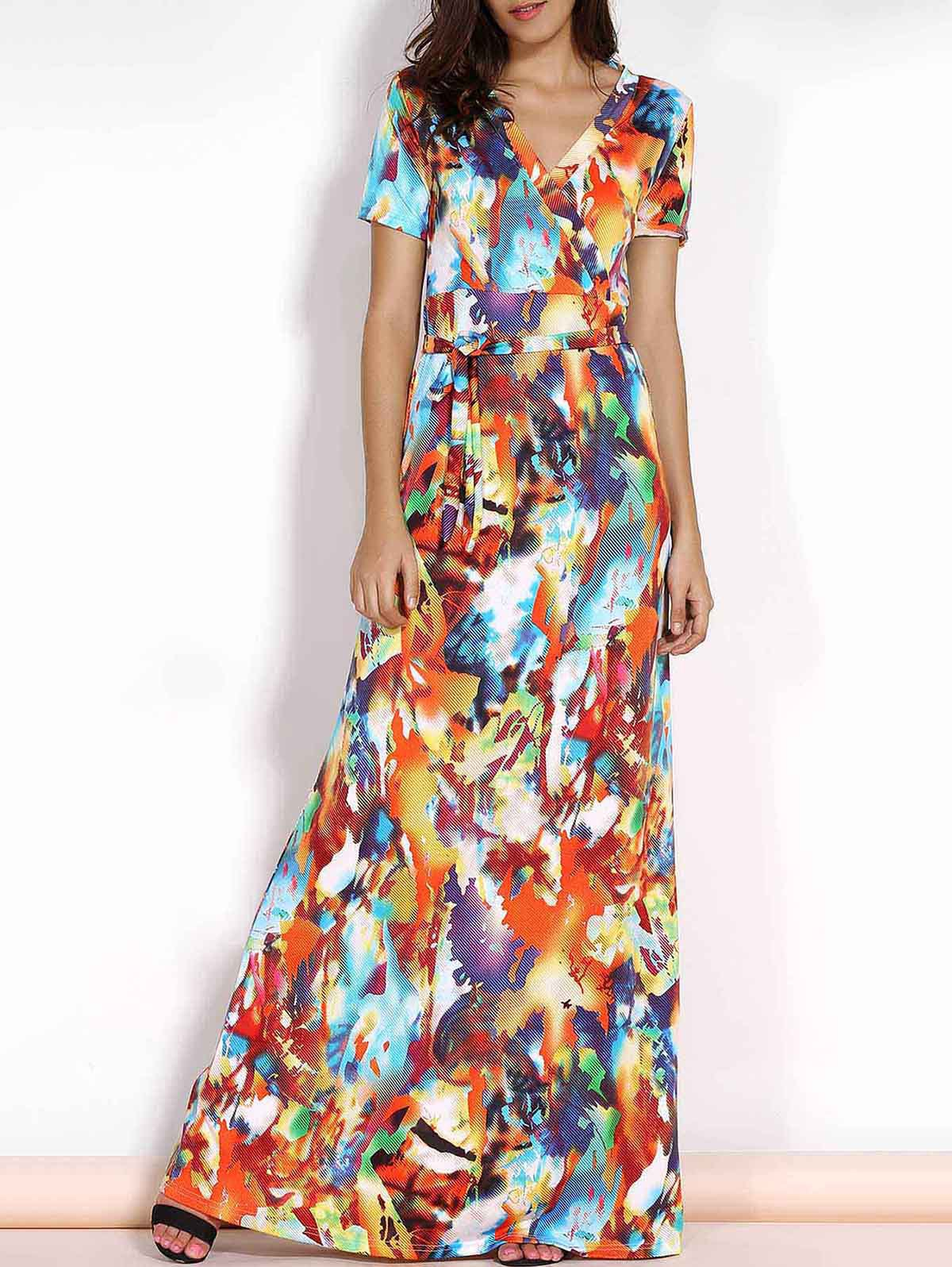2019 Multicolored Plus Size Maxi Wrap Dress With Short Sleeve ...