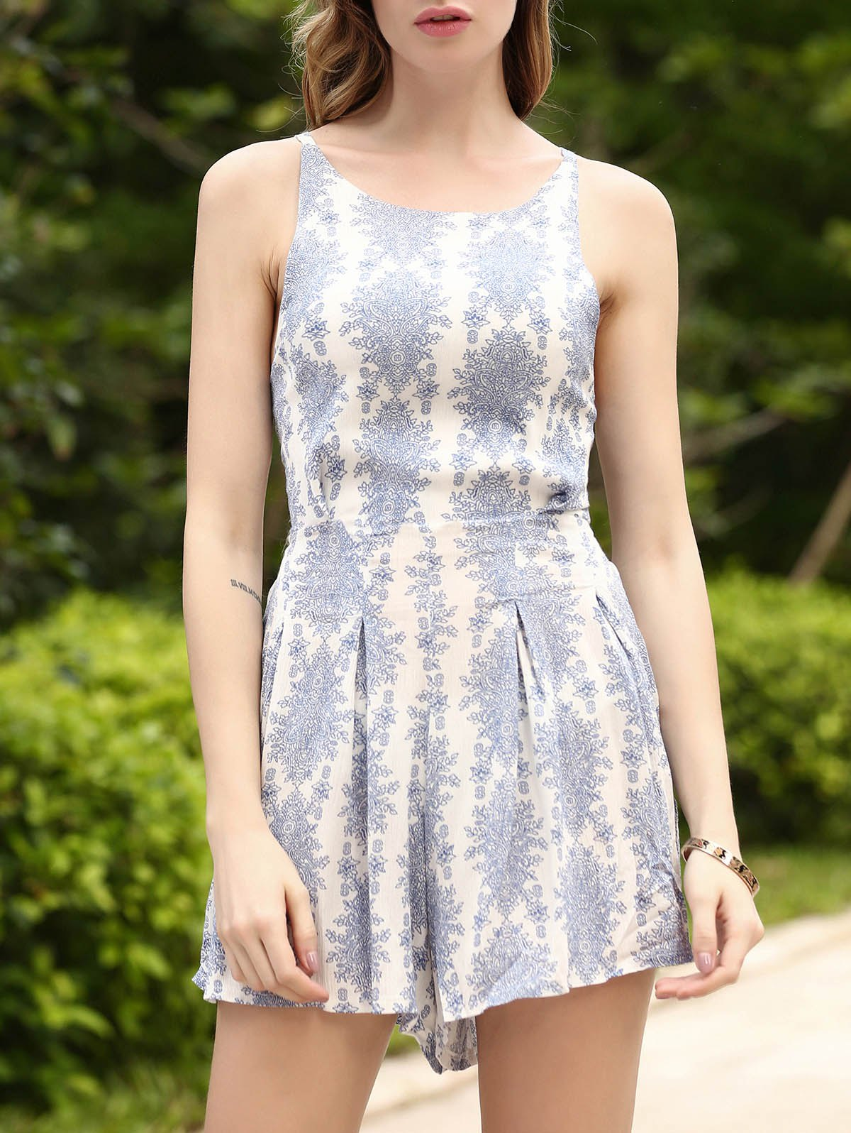 Latest Refreshing Printed Backless High Waist Romper For Women