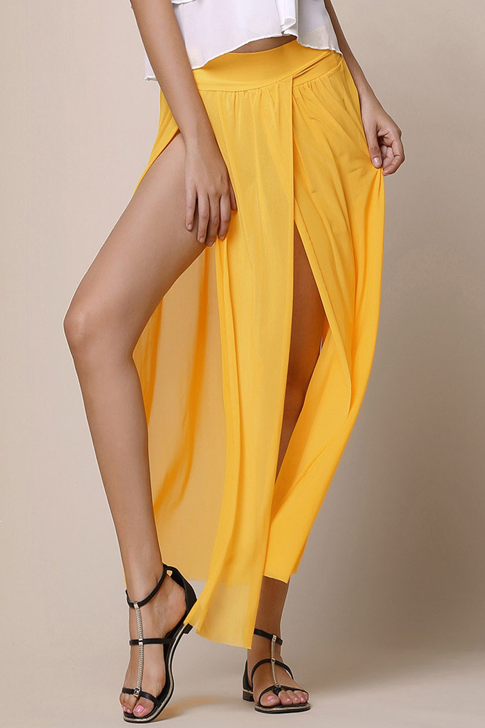 Shop Stylish Low-Waisted Solid Color High Slit Skirt for Women