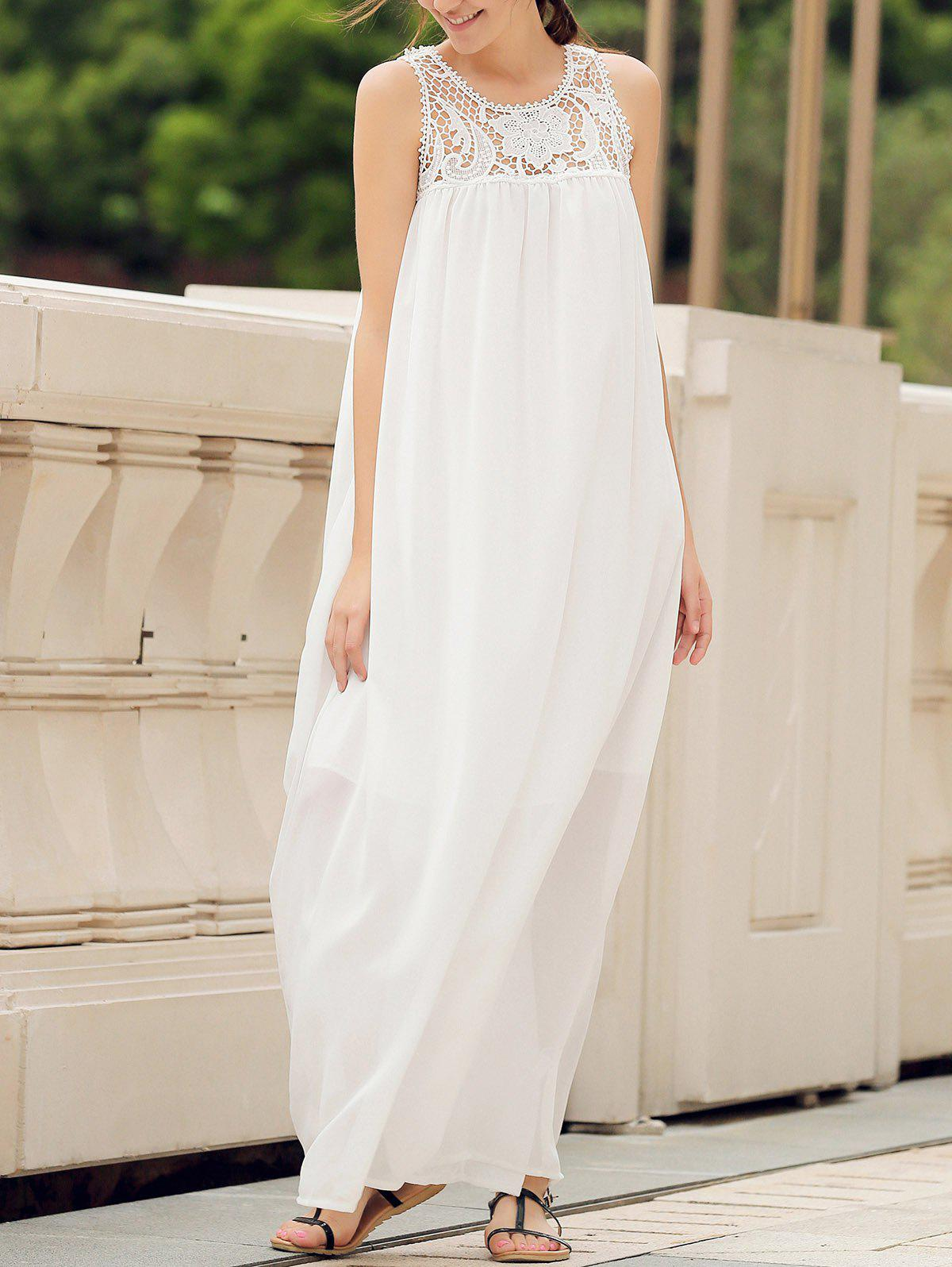 Best Lace Panel Summer Chiffon Long Swing Dress