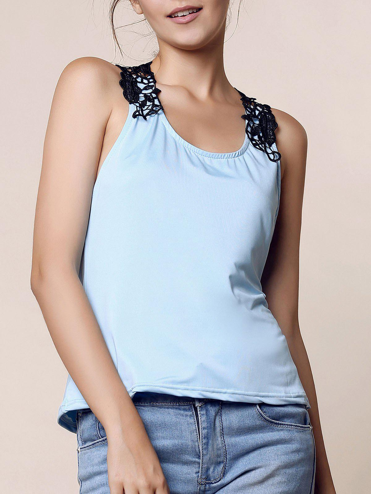 Trendy Style Scoop Neck Lace Splicing Backless Tank Top For Women от Rosegal.com INT