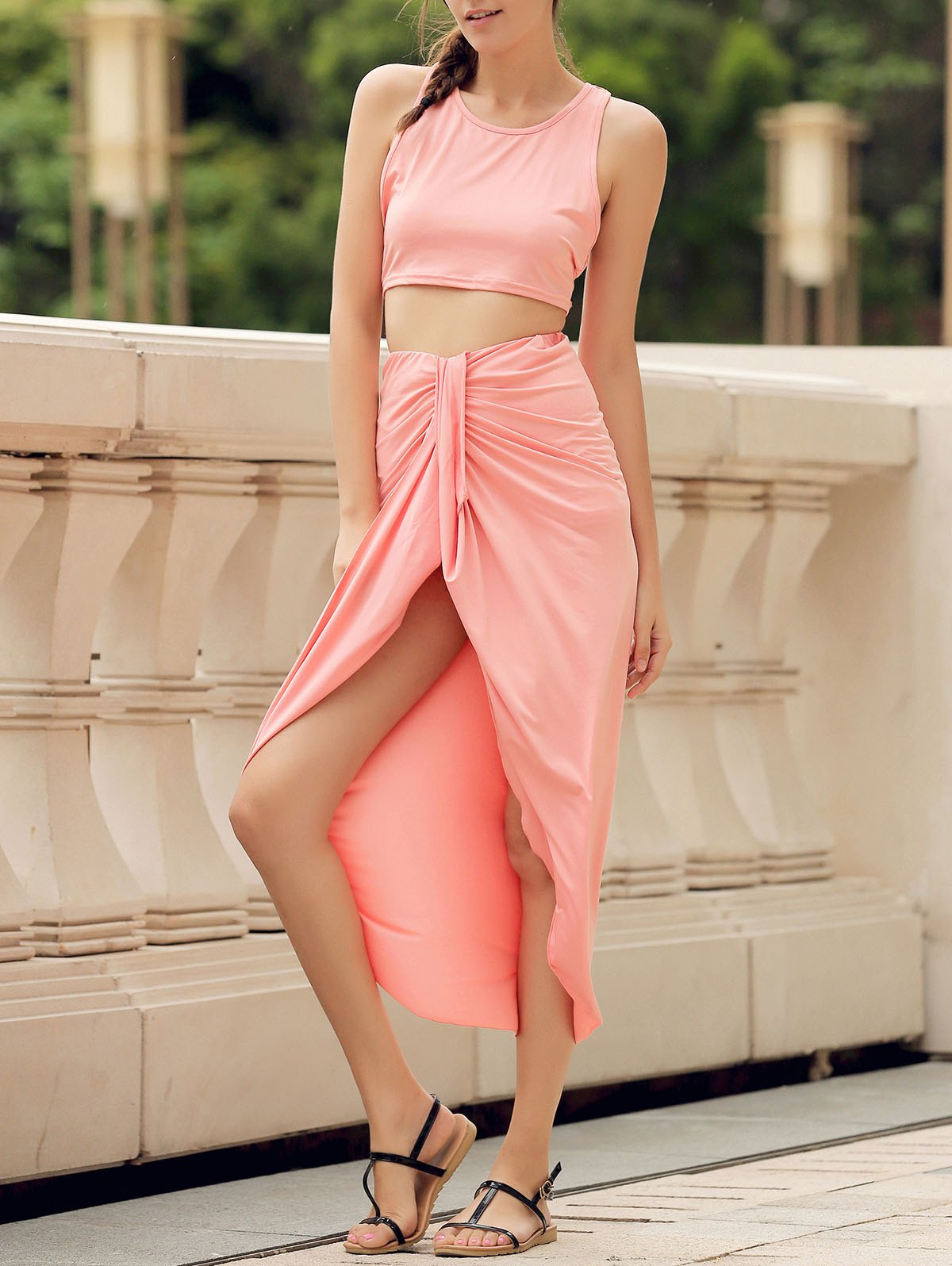 Outfits Slit Crop Racerback Two Piece Club Dress