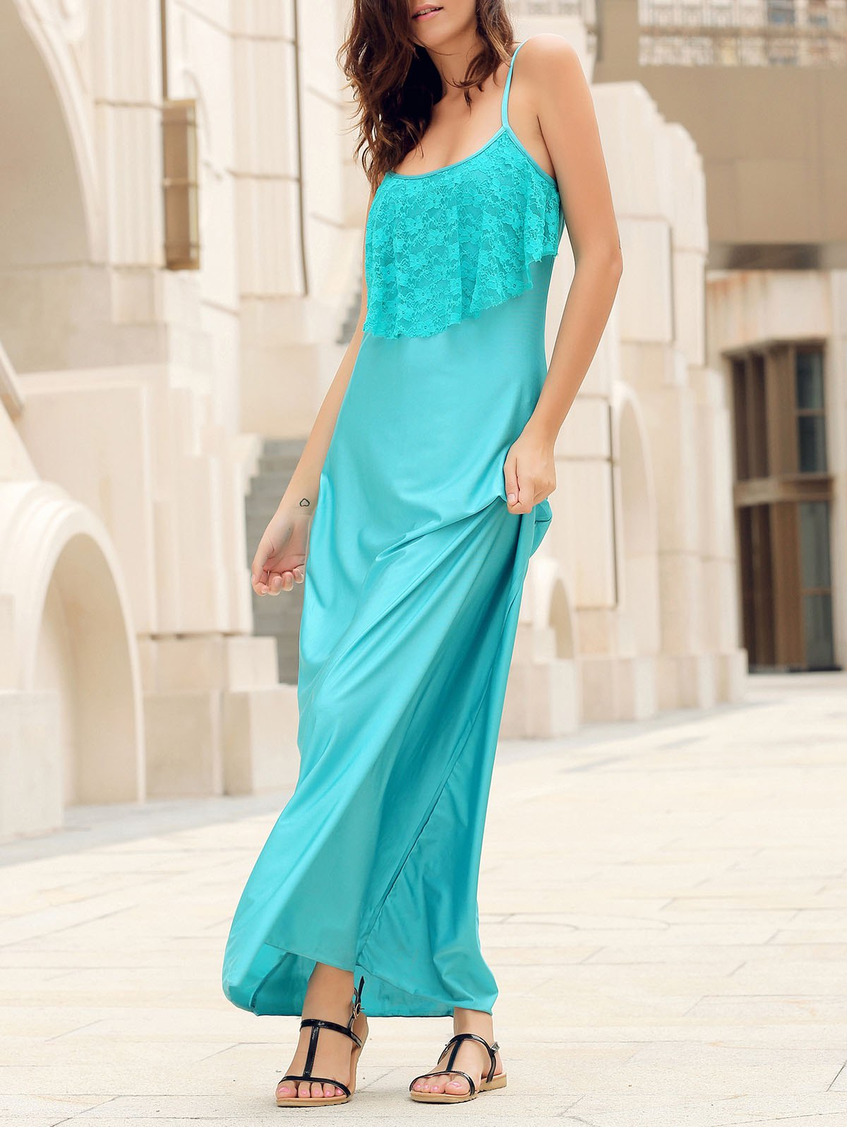 Fashion Long Slip Lace Trim Backless Floor Length Dress