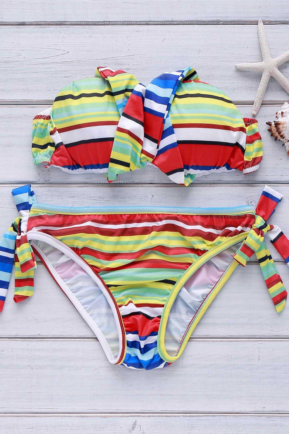 Shop Sexy Strapless Sleeveless Colorful Lace-Up Women's Bikini Set