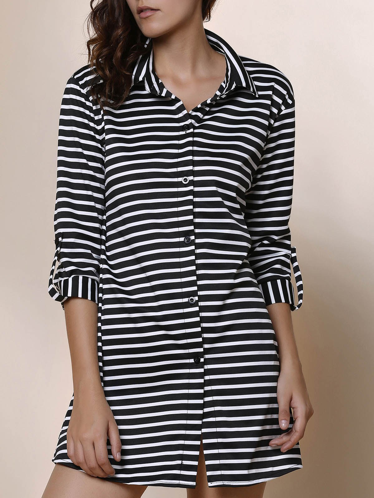 Fancy Simple Shirt Collar Striped Long Sleeve Blouse For Women