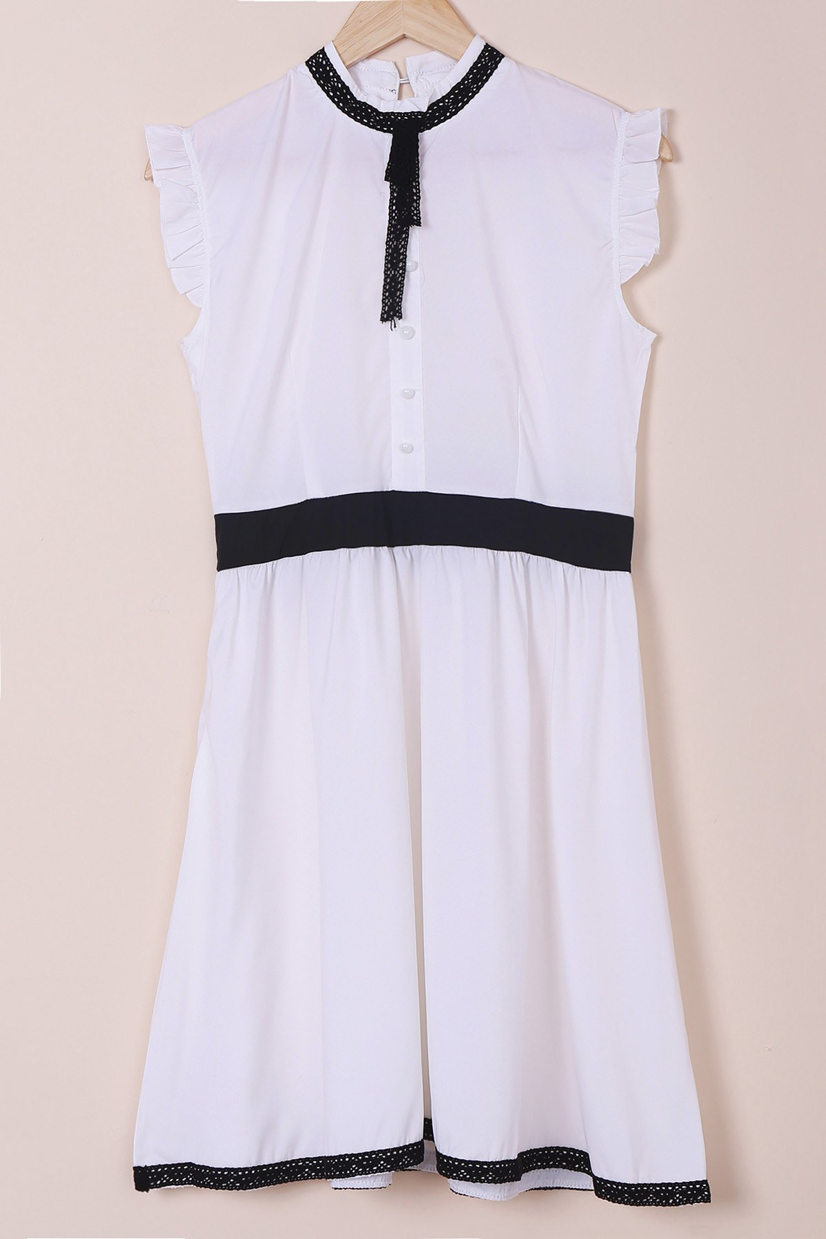 Stand Collar Dress Designs : White vintage stand collar lace up ruched button design