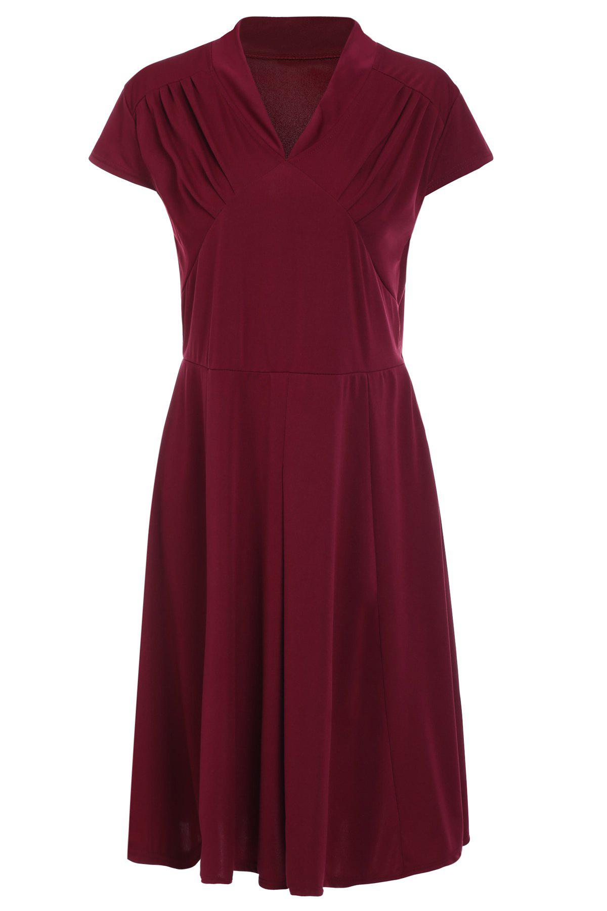 Retro Style V-Neck Wine Red 1940s Swing DressWOMEN<br><br>Size: XL; Color: WINE RED; Style: Vintage; Material: Cotton Blend; Silhouette: Ball Gown; Dresses Length: Mid-Calf; Neckline: V-Neck; Sleeve Length: Short Sleeves; Pattern Type: Solid; With Belt: No; Season: Summer; Weight: 0.570kg; Package Contents: 1 x Dress;