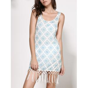 Chiffon imprimé Dropped Armhole Flapper Tank Dress -