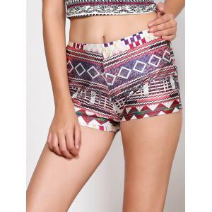Ethnic Style Multicolored Printed Elastic Waist Shorts For Women -