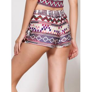 Ethnic Style Multicolored Printed Elastic Waist Shorts For Women - COLORMIX S