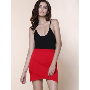Chic Style Scoop Neck Color Block Bodycon Sleeveless Dress For Women -