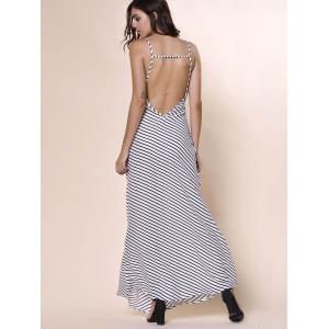 Bohemian Plunging Neckline Striped Backless Dress For Women -