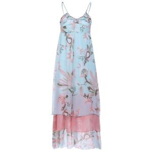 Bohemian Style Spaghetti Strap Lotus Printing High Waist Chiffon Women's Dress - As The Picture - S
