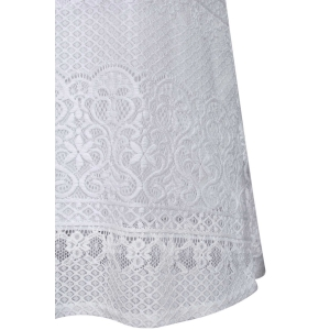 Élégant Blanc Off The Shoulder Dress Lace - Blanc M
