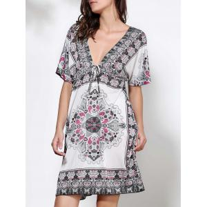 Bohemian Plunging Neck Floral Print Short Sleeve Dress For Women