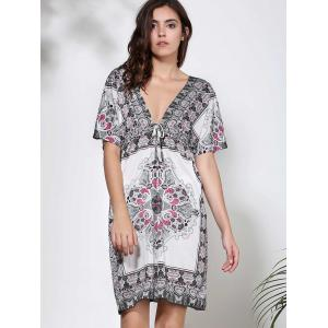 Bohemian Plunging Neck Floral Print Short Sleeve Dress For Women -