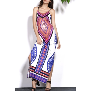 Stylish Cami Geometric Print Backless Women's Maxi Dress