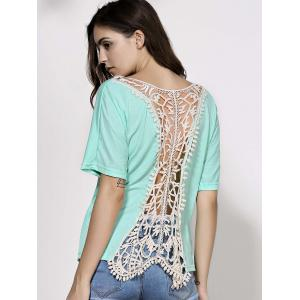Dolman Sleeve Backless Crochet Party Tunic Top - GREEN XL