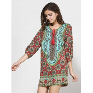 Vintage Style V-Neck 3/4 Sleeve Full Print Dress For Women - COLORMIX L