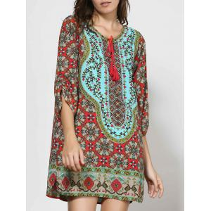 Vintage Style V-Neck 3/4 Sleeve Full Print Dress For Women