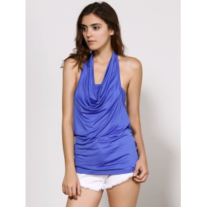 Cowl Neck Sleeveless Plain Backless T-Shirt - BLUE S