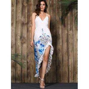 Alluring Spaghetti Strap Floral Print High Low Dress -