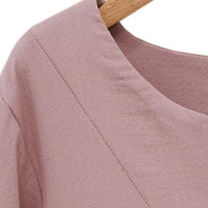 Brief V-Neck Flounce Solid Color 3/4 Sleeve Dress For Women -
