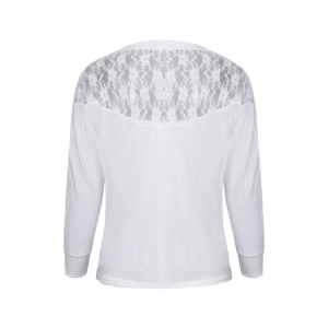 Women's Batwing Top Dolman Long Sleeve Lace Loose T Shirt -